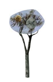Blue Gaudi Tree, 5.5 x 8.5 inches